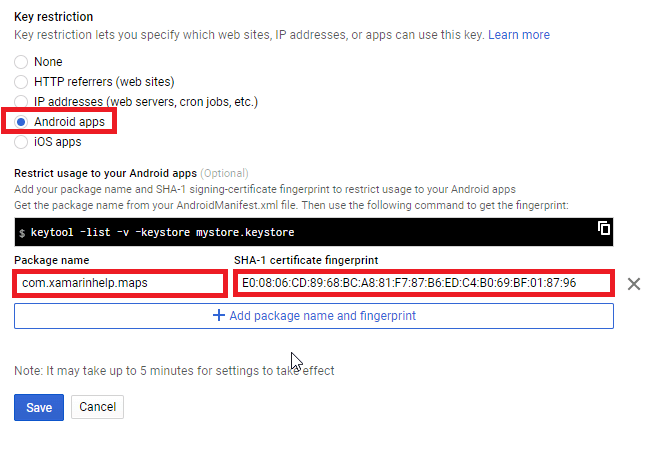 Google Maps API Key For Xamarin Android App - Xamarin Help